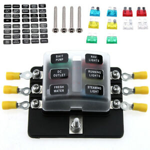 6 way car blade fuse box led indicator blown fuse protection cover rh ebay com