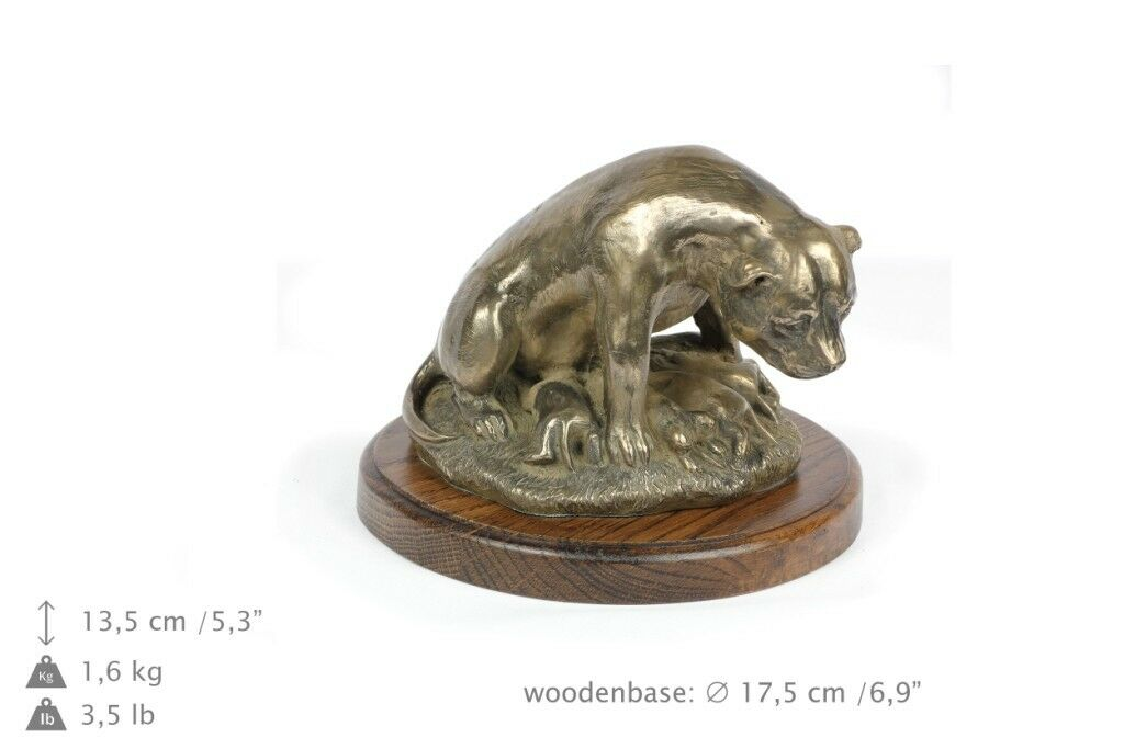 miglior reputazione Staffy type 4 - dog figurine on wooden wooden wooden base, high quality, Art Dog  economico