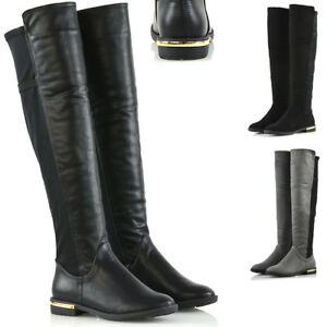 Womens-Stretch-Calf-Leg-Flat-Low-Heel-Over-The-Knee-Gold-Trim-Casual-Boots-Size