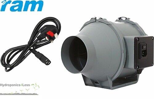 4 5 6 8 inch RAM Inline Mixed Flow UK Plug Hydroponics Grow Fan upto 840m3//hr