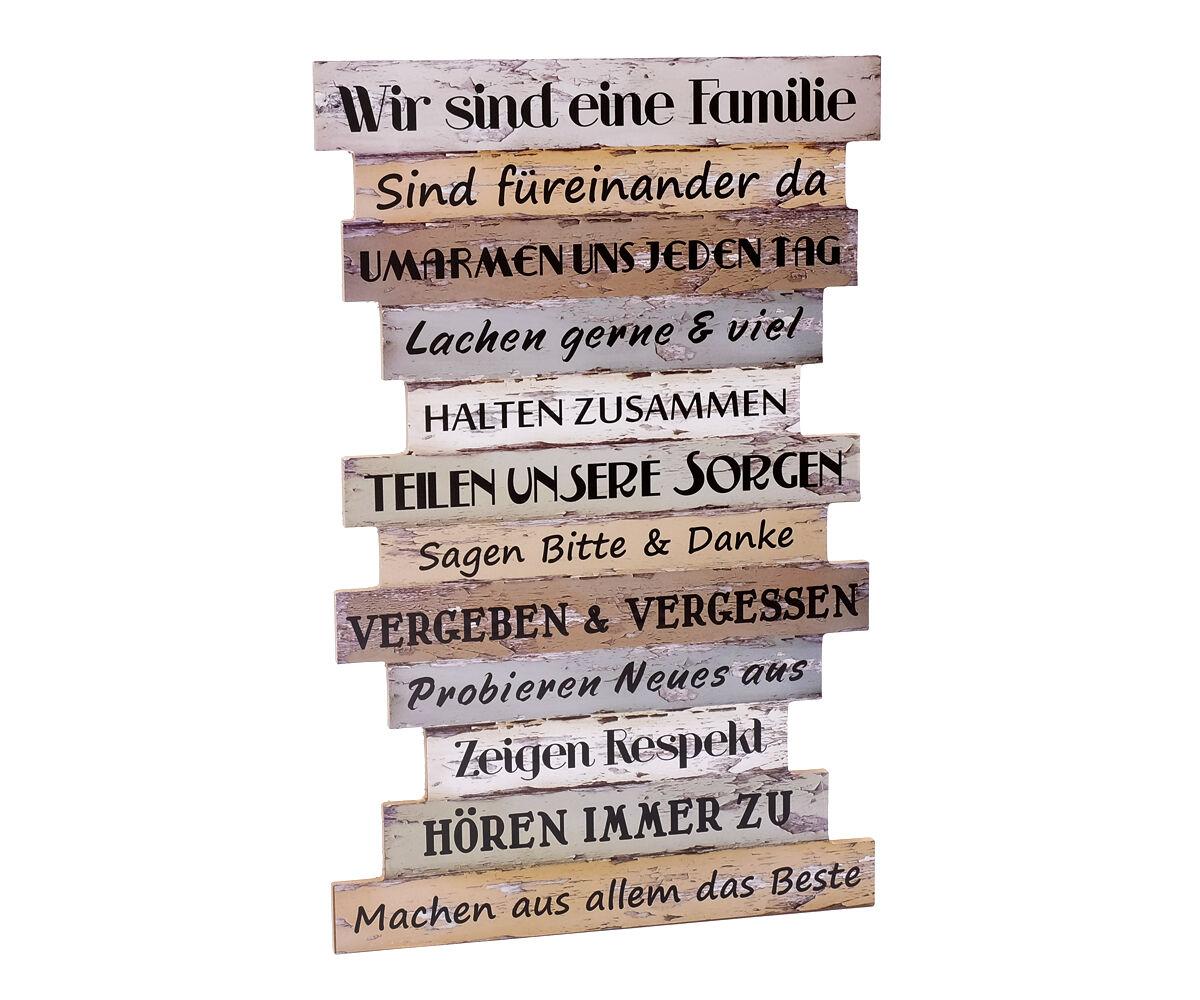 Schild zur Wahl  Holz Spruch Aufhänger Wand Dekoration Wandbild Spruch Familie
