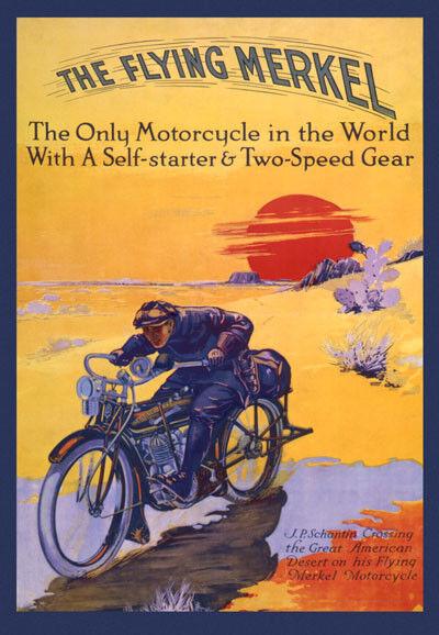 Motorcycle Merkel Two Speed 20x30 Vintage Poster Repro FREE S/H