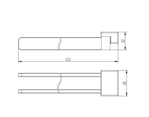 Handtuchhalter 42 cm 2-armig schwenkbar für Bad Küche chrom