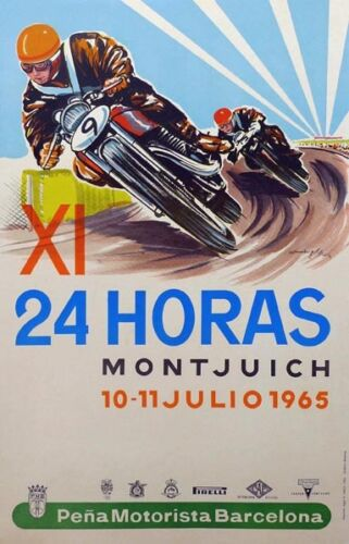 Spain 11th 24 Hrs Montjuich poster July 1965 vintage motorcycle poster repro