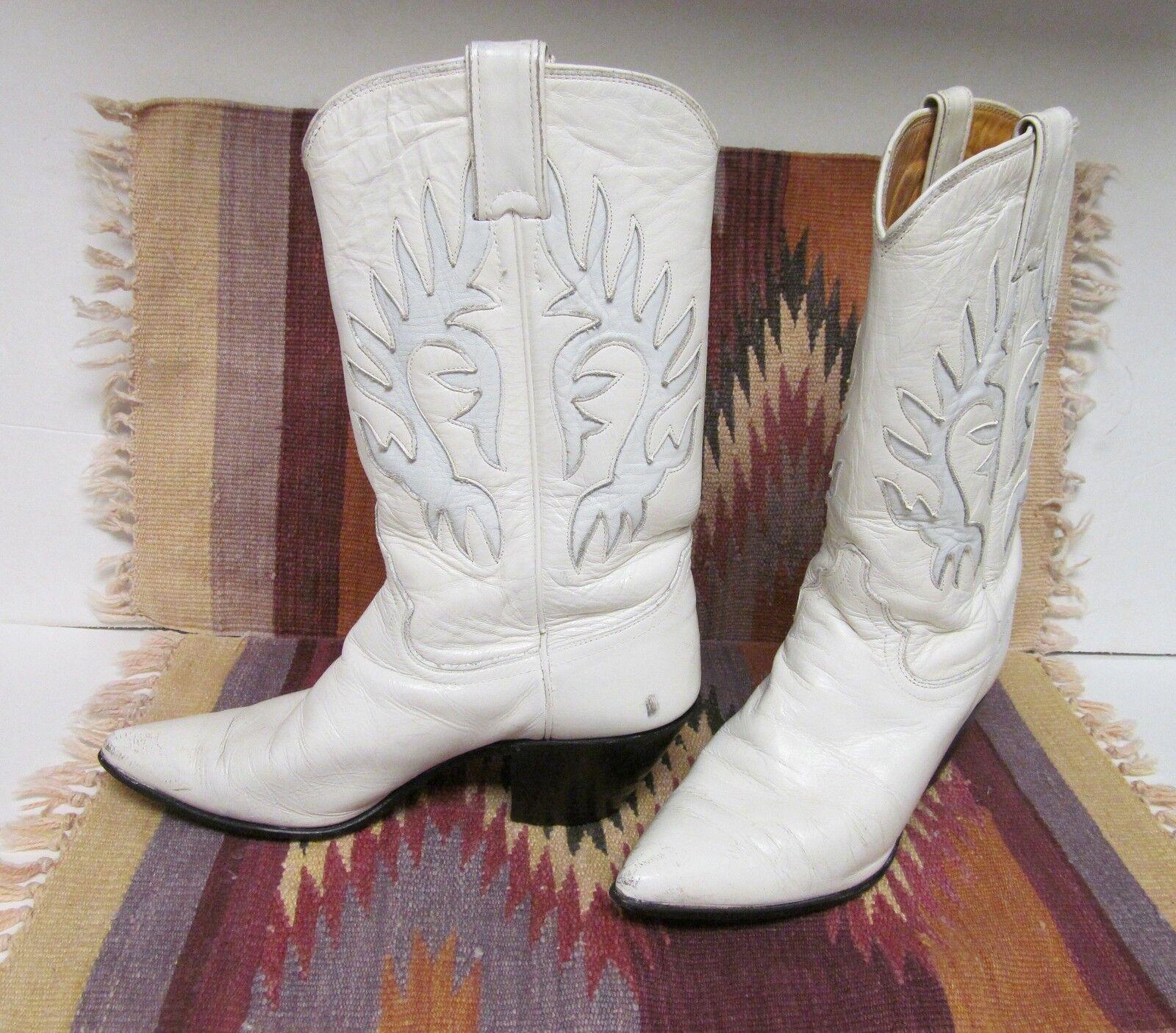JUSTIN Women's Cowboy Western Fashion Boots Leather USA White 6 B