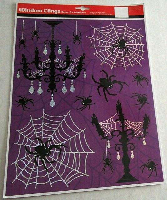 HALLOWEEN Window Clings  SCARY HALLOWEEN DECOR w/ SPIDERS AND SPIDER WEBS