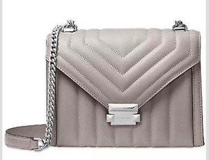 cb3a8e1c7838 Image is loading Michael-Kors-Whitney-Large-Quilted-Shoulder-Bag-Pearl-