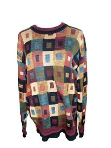 Herren-Vintage-Tricots-St-Rafael-Pullover-1980s-Bill-Cosby-Style-Pullover-Mulitcolor