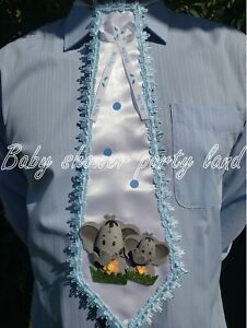 Baby Shower DAD to BE TIEIts A BOY Prince to BE Blue Ribbon Corsage Pin Sash