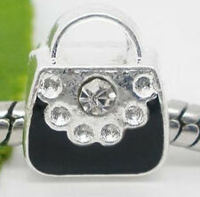 European Spacer Bead Perlen versilbert Handtasche Beauty Case mit Strass