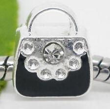 European Spacer Bead Perlen versilbert Handtasche Beauty Case mit Strass