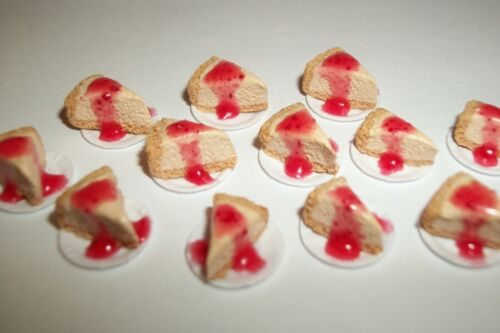 Details about  /1:12 One Inch Scale Dollhouse Miniature Cherry Cheese Cake Slice~ Doll Food 602