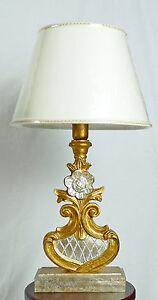 Lampada Da Tavolo Antica Legno Colore Foglia Oro Argento Paralume