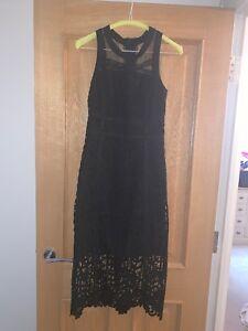 3c93a3906825 NEXT - Lost Ink, Black Lace Midi Dress, Size UK 8, Zip Up Back ...