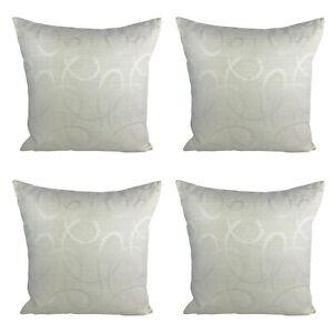 Pack-of-4-Nylon-Cream-Cushion-Covers-Abstract-Print-17-x-17-034-43-x-43-cm