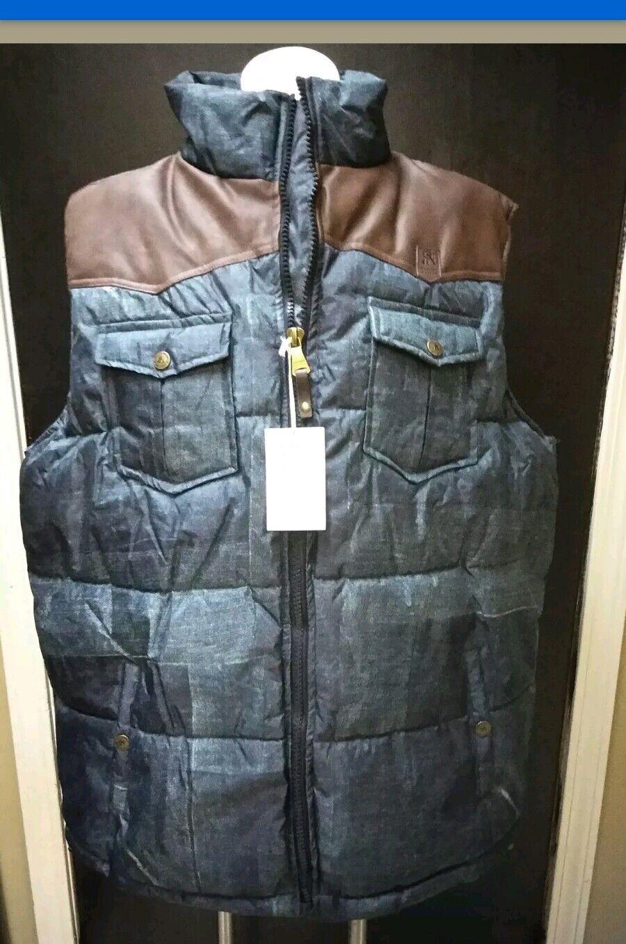 Parish Nation Denim Print Puff Vest w/ Braun Leder Shoulder Größe 3XL