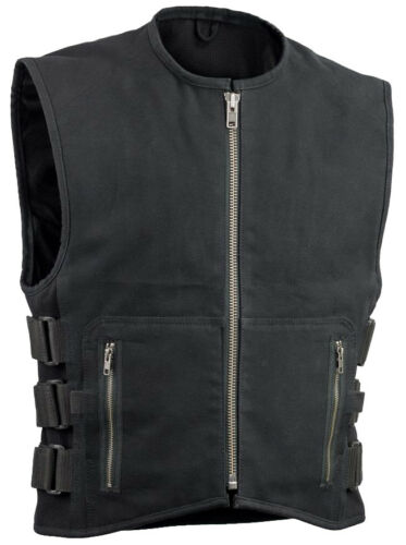V660CV Men's Black Canvas Motorcycle Racing Vest with Adjusting Side Straps