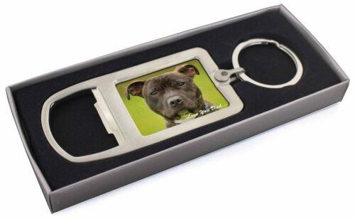 DAD-101MBO Staffie Dog /'Love You Dad/' Chrome Metal Bottle Opener Keyring in Box