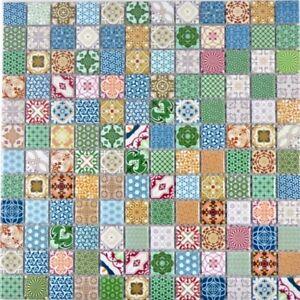 Retro-Vintage-Mosaik-Fliese-Keramik-mehrfarben-bunt-Fliesenspiegel-WB18D-1616