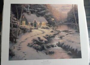Evening Glow Christmas Cottage X Thomas Kinkade Litho Unframed 20x24 Ebay