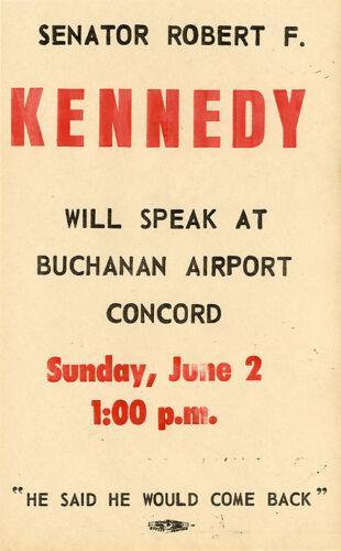 Scarce 1968 Concord California Robert Kennedy Campaign Speech Handbill 5335