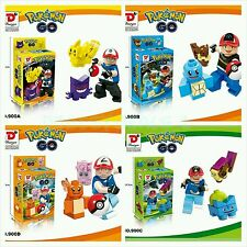 4 SET POKEMON GO Mini Figures PIKACHU POKEBALL Building Blocks Toys Fit Lego