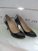 Brand St John Knit Sz 11 M Womens Shoes Black/navy Patent Leather Heel 3.5