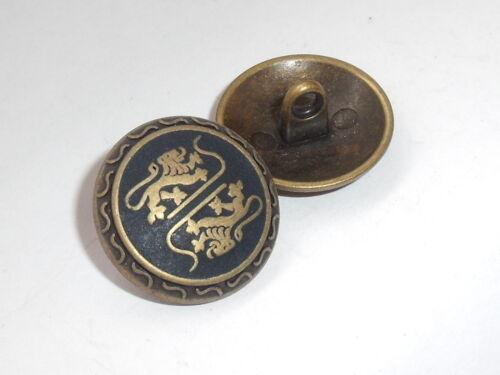 8 Stück Metallknöpfe Knopf Ösenknopf Wappenknopf 20 mm altmessing NEUWARE #860#