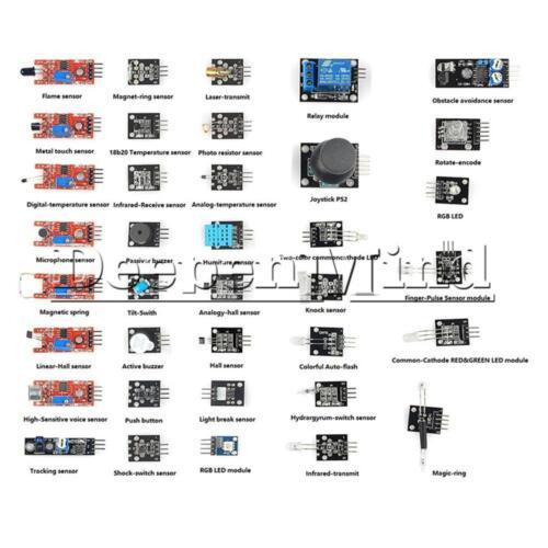 37 Sensor Module Kit //RGB//KY-016//KY-012//Knock//KY-024//Microphone Sound//Infrared