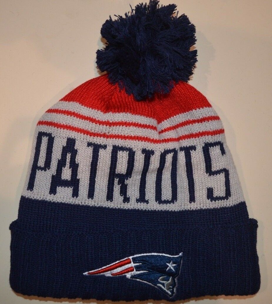 Winter knit team colors and large script Patriots beanie