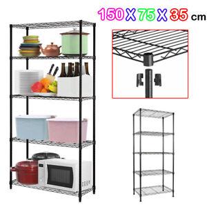 5-Shelf-Chrome-Wire-Shelving-Racking-Heavy-Duty-Storage-150x75x35cm-Black-DCUK
