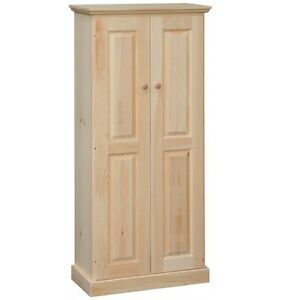 AMISH Unfinished Pine 58 Rustic 2 Door Pantry Cabinet ADJUSTABLE SHELF Handmade
