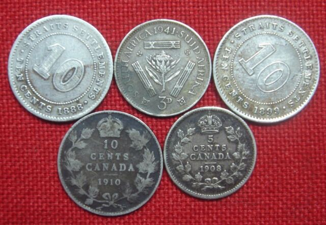5 Pcs. BRITISH COLONY SILVER LOT;  CANADA, SOUTH AFRICA & STRAITS SETTLEMENTS