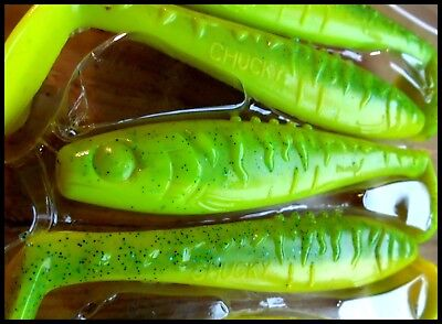 """7,5 cm YUM WALLEYE GRUB 3/"""" CHARTREUSE SILVER color packet of 25 pcs!!"""