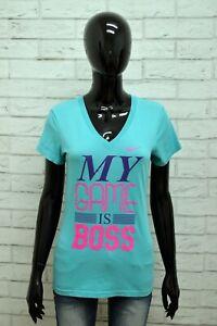 Maglia-NIKE-Donna-Taglia-Size-S-Maglietta-Shirt-Woman-Cotone-Manica-Corta-Blu