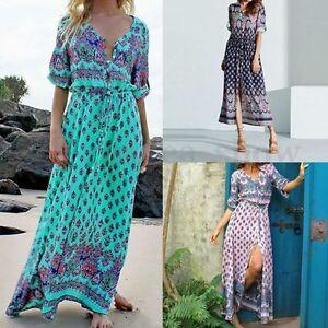 Plus-Size-Women-Casual-Summer-Beach-Party-Boho-Floral-Sundress-Long-Maxi-Dresss