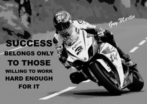 Guy Martin Inspirational Print Motivational Sign Success Belongs Quote Poster