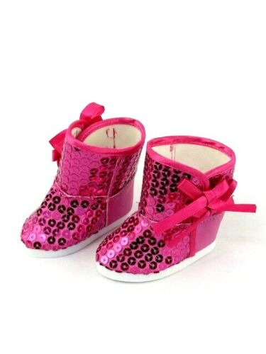 """Hot Pink Sequin /& Bows Boots 18/"""" Doll Clothes Fit American Girl Dolls"""