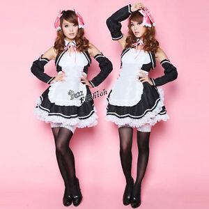 Sexy-Girl-Cosplay-Kleid-Verkleidung-Kostueme-Maid-Lace-Schwarz-Schuerze-Halloween