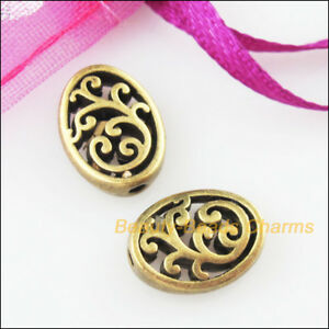 15Pcs-Antiqued-Bronze-Tone-Flower-Oval-Flat-Spacer-Beads-Charms-9-5x12-5mm