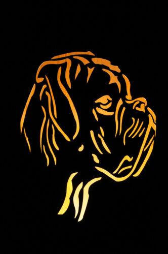 8-Eck Säule Boxer JH Metall Design  Hund Edelrost Stele Rost Zucht Lichtobjekt