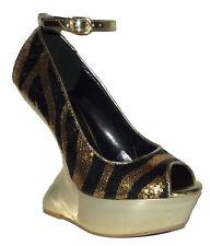 NEW BLack Gold Sequins Less Wedge Peep toe PLATFORM women SANDAL shoes size 7.5