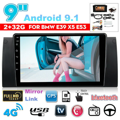 """Canbus 9/"""" Android 9.1 Quad-core 2+32GB Car Stereo Radio GPS For BMW E39 E53 X5"""