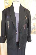 OOAK Art to Wear Deborah Cross Black Jacket With Hand Woven Textile Insets ML