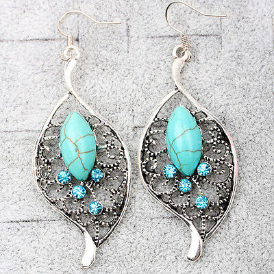 1 Pair New Fashion Girls Ethnic Trend Hollow Turquoise Leaves Shape Earrings