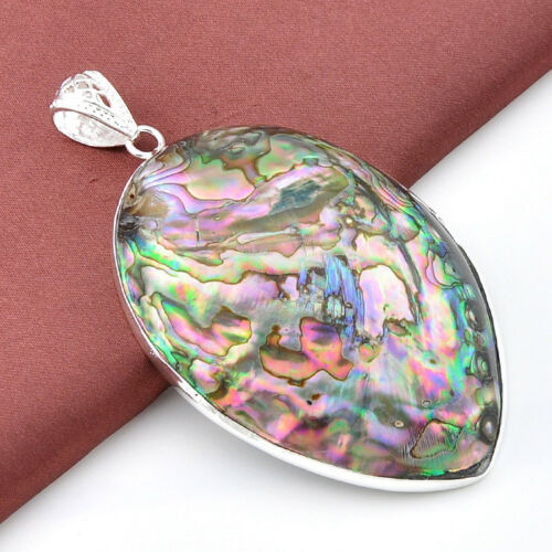 Oval Cut Rainbow Tropical Abalone Shell Gems Silver Necklace Pendant 89.00 Cts