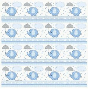 Blue-Baby-Boy-Shower-Party-SWEET-UMBRELLA-ELEPHANT-GIFT-WRAP-WRAPPING-PAPER