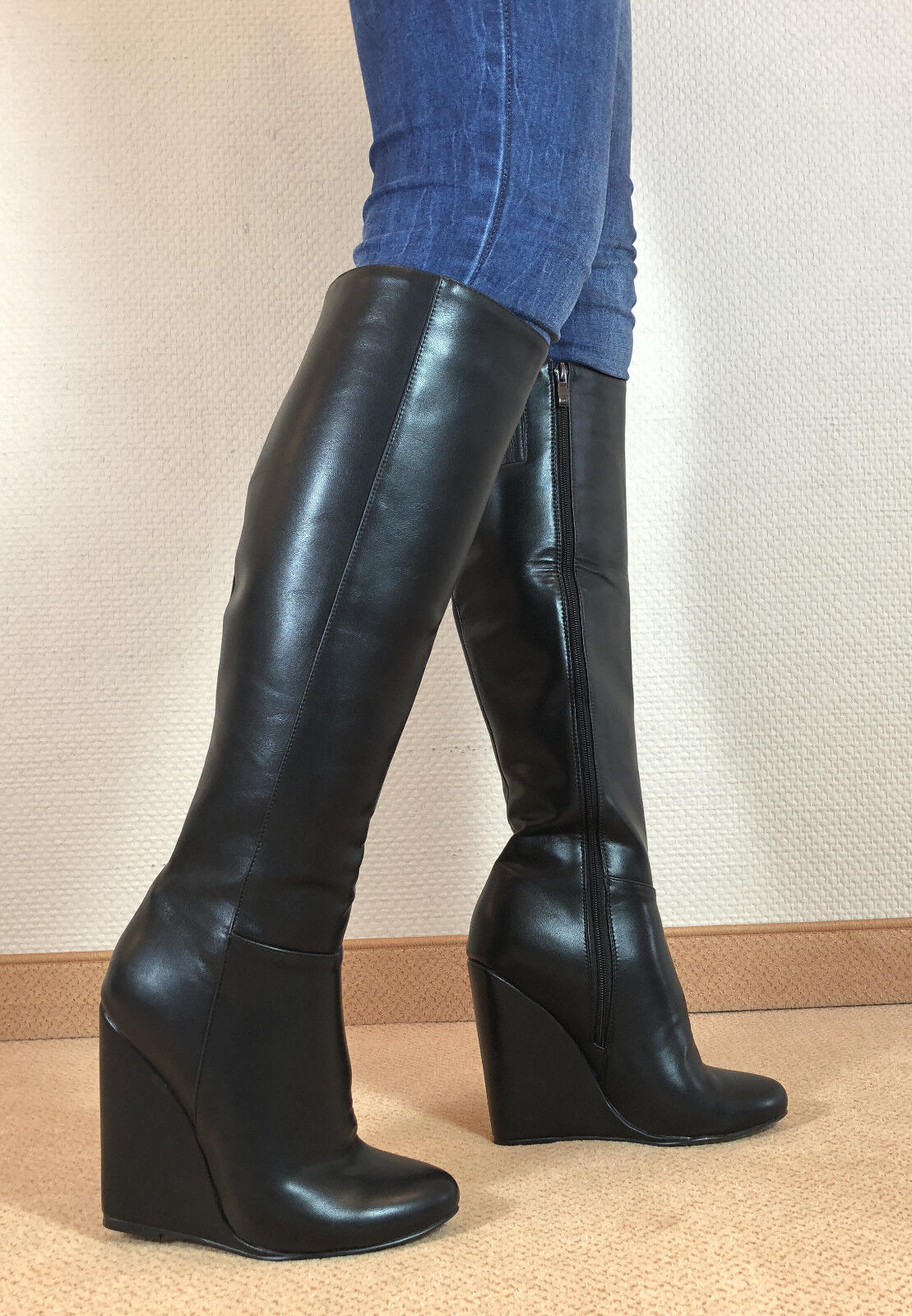 top! en exclusiva sexy Zapatos señora rodilla de cuña bota botas mujers e4
