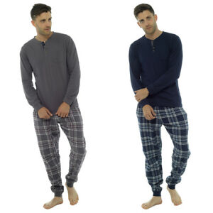 Image is loading Mens-Loungewear-Brushed-Check-Flannel-Cotton-Pyjama-Set- 69ff13950