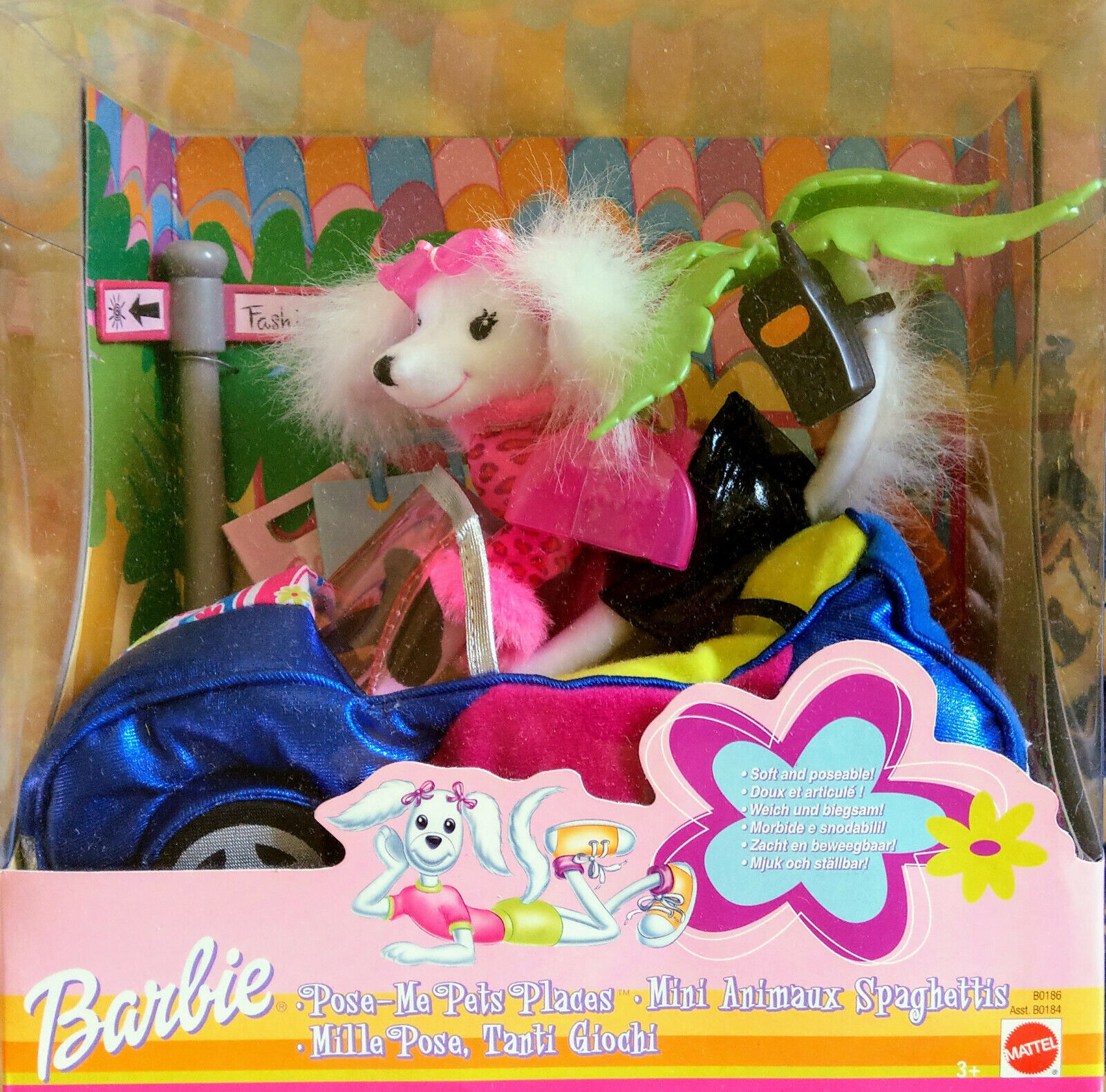 BARBIE B 0186 pose-me PETS Places-cane con auto; Palma; Accessori-NUOVO
